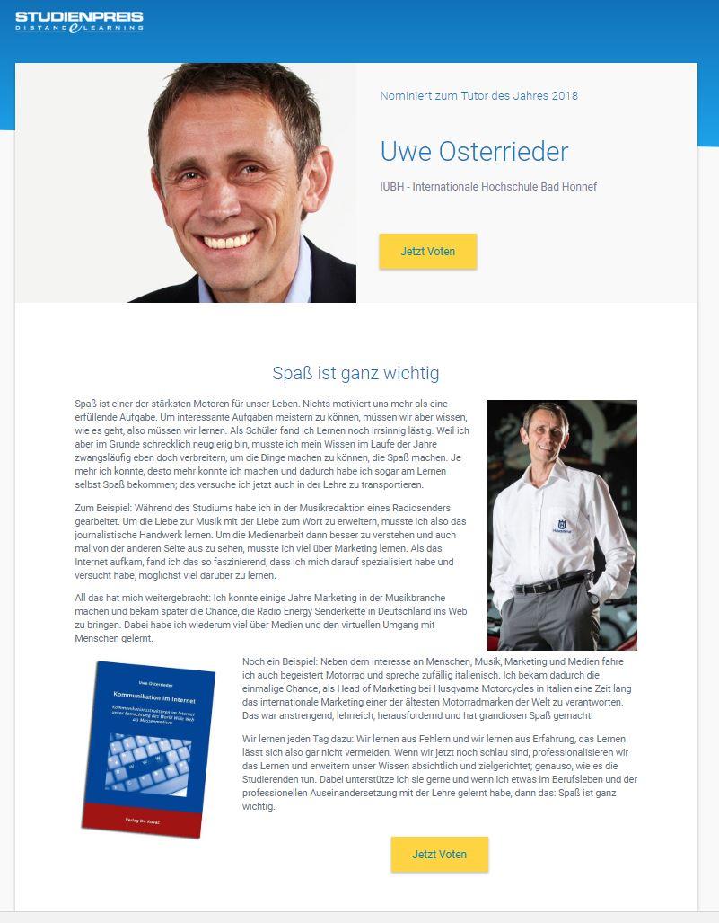 Uwe Osterrieder ist nominiert zum Tutor des Jahres 2018